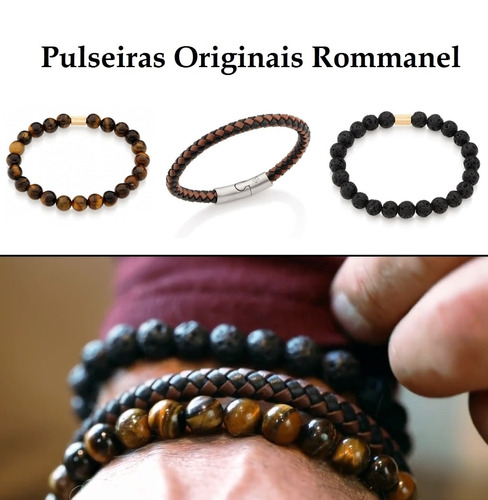 kit pulseira masculina couro + olho tigre + pedra vulcânica