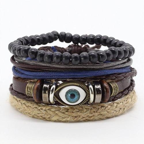 kit pulseira masculina de couro olho turco ajustável