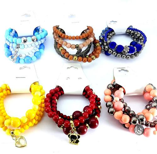kit pulseiras 20 conjuntos feminina  da moda atacado