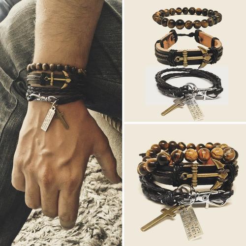 kit pulseiras masculinas couro âncora hip hop olho de tigre