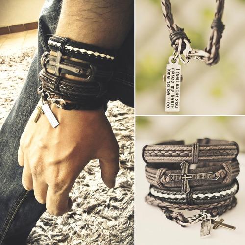 kit pulseiras masculinas couro tribal cruz hip hop bracelete