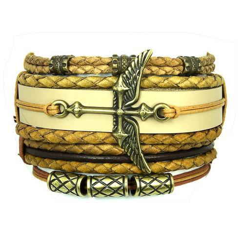 kit pulseiras masculinas de couro cruz asa 04 peças
