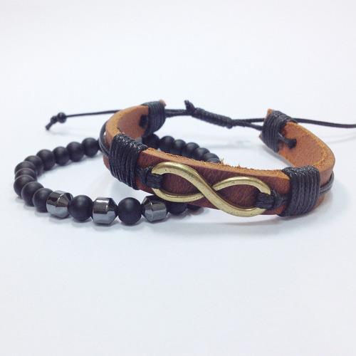 kit pulseiras masculinas femininas couro onix e infinito