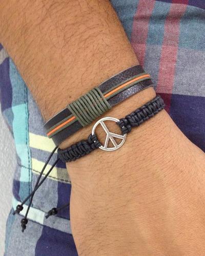 kit pulseiras masculinas ônix e paz