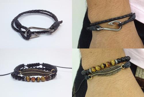 kit pulseiras pena, anzol e onix