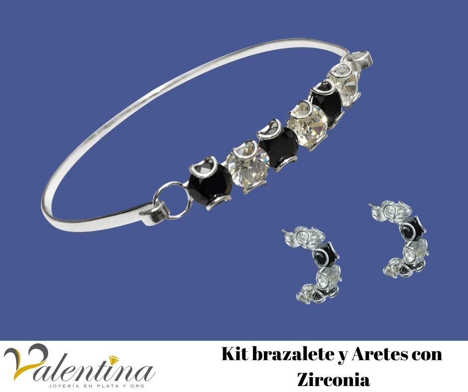 f083a497063d Kit Pulsera-brazalete Y Arete De Plata
