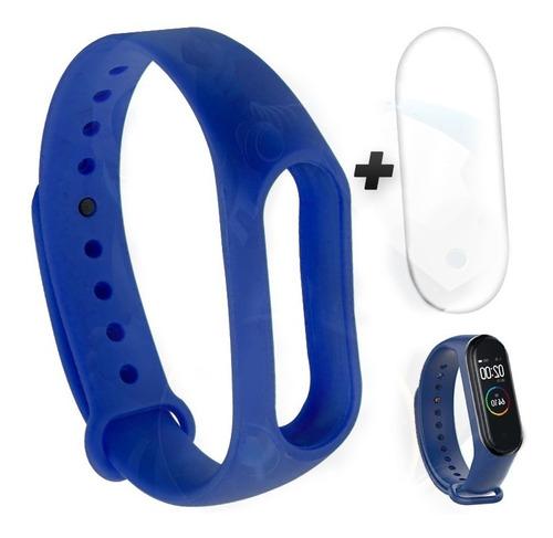 kit pulso azul y screen protector para xiaomi mi band 4
