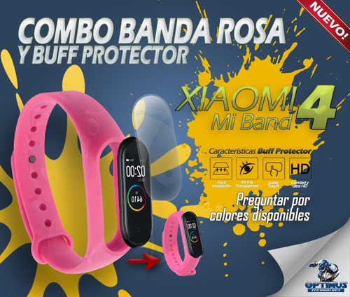 kit pulso rosado y screen protector para xiaomi mi band 4