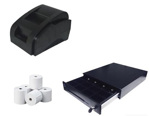 kit punto de venta impresora 58 mm, cajon de dinero