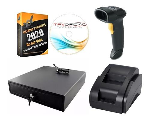 kit punto de venta impresora, cajón, lector y sistema