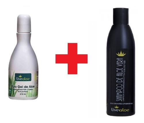 kit puro gel + shampoo de babosa live aloe vera