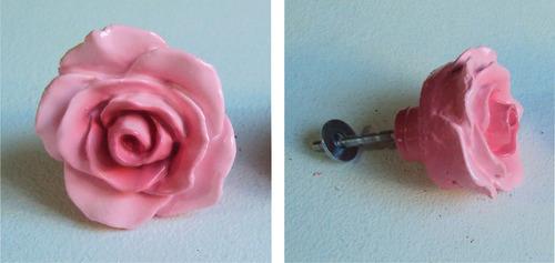 kit puxadores para gavetas rosas cor de rosa (03 peças).