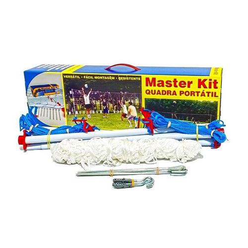 kit quadra rede de vôlei portátil master completo