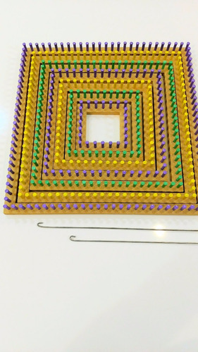 kit quadrado tear de pinos plásti - 07 teares + agulha 50 cm