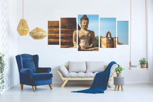 kit quadro decorativo sala peças mosaico buda esotérico
