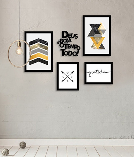 kit quadros decorativos abstrato amarelo frases decor sala