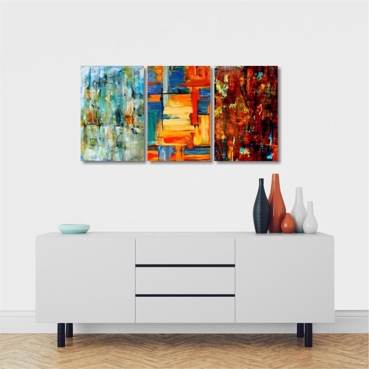 13960cbf6 kit quadros decorativos abstrato moderno sala 3 peças. Carregando zoom.