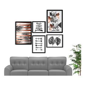 Kit Quadros Decorativos Composê  Com Moldura Frases Vários Modelos Sala Quarto Cozinha