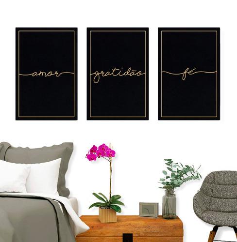 kit quadros decorativos fé amor gratidão grande quarto sala