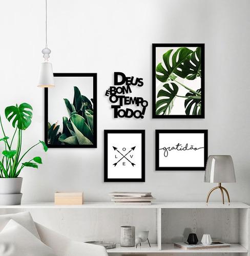 kit quadros decorativos folhagem frase com moldura decoração