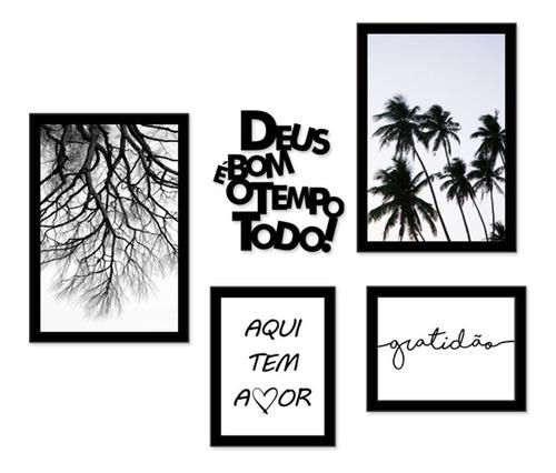 kit quadros decorativos galho preto e branco árvores frases