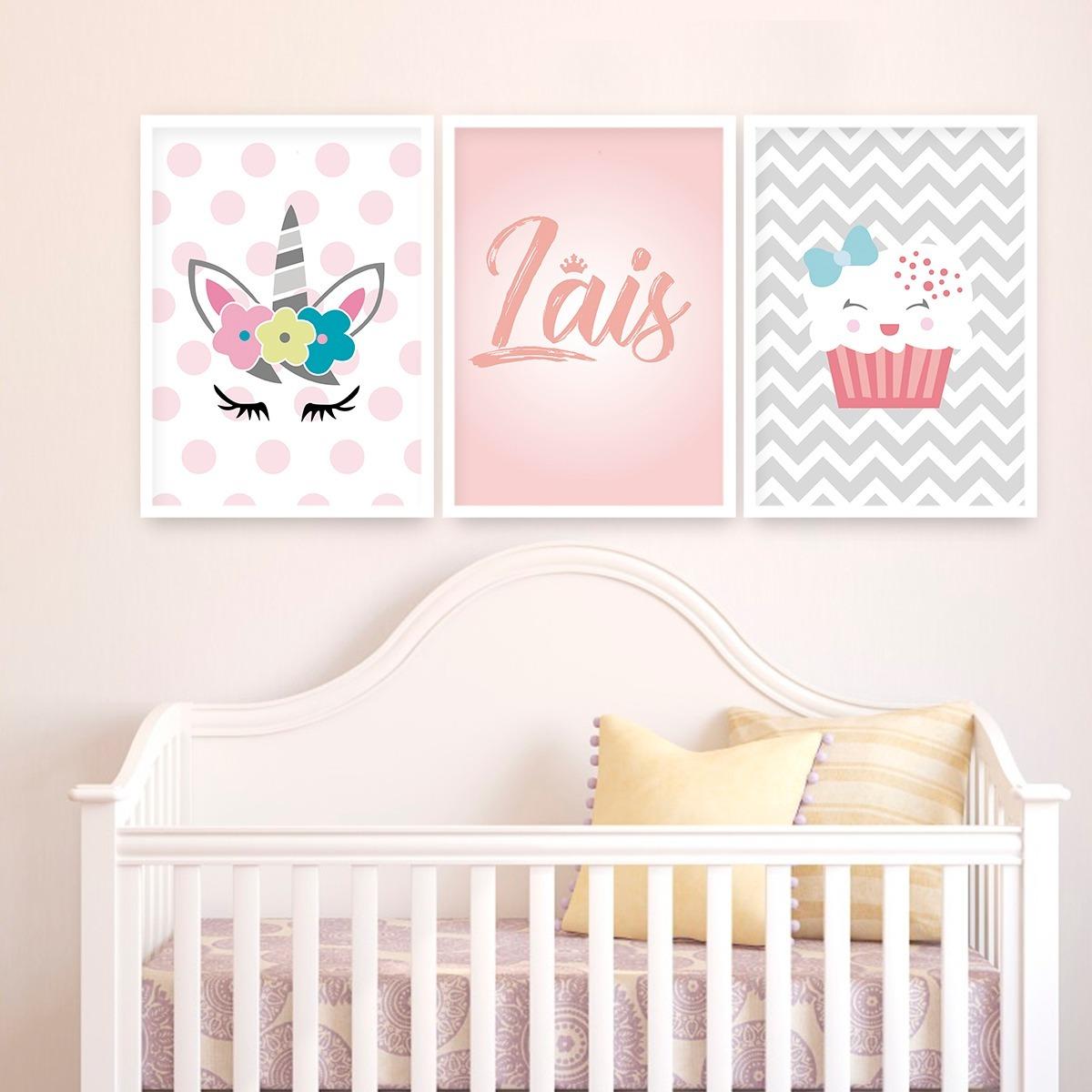 5542d1241 kit quadros decorativos quarto bebe unicornio moldura vidro. Carregando zoom .