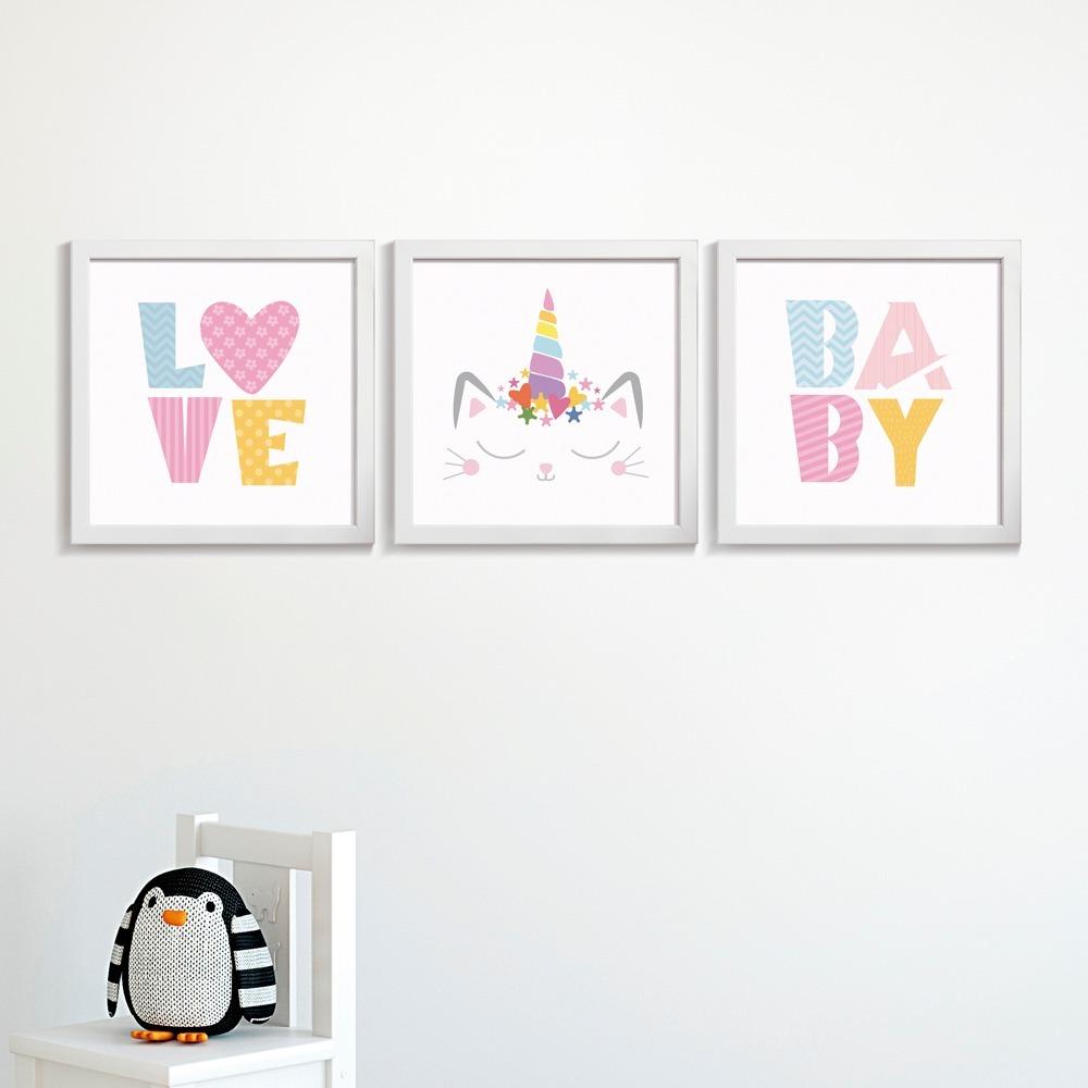 113347545 kit quadros + moldura bebê quarto infantil chuva amor flores. Carregando  zoom.