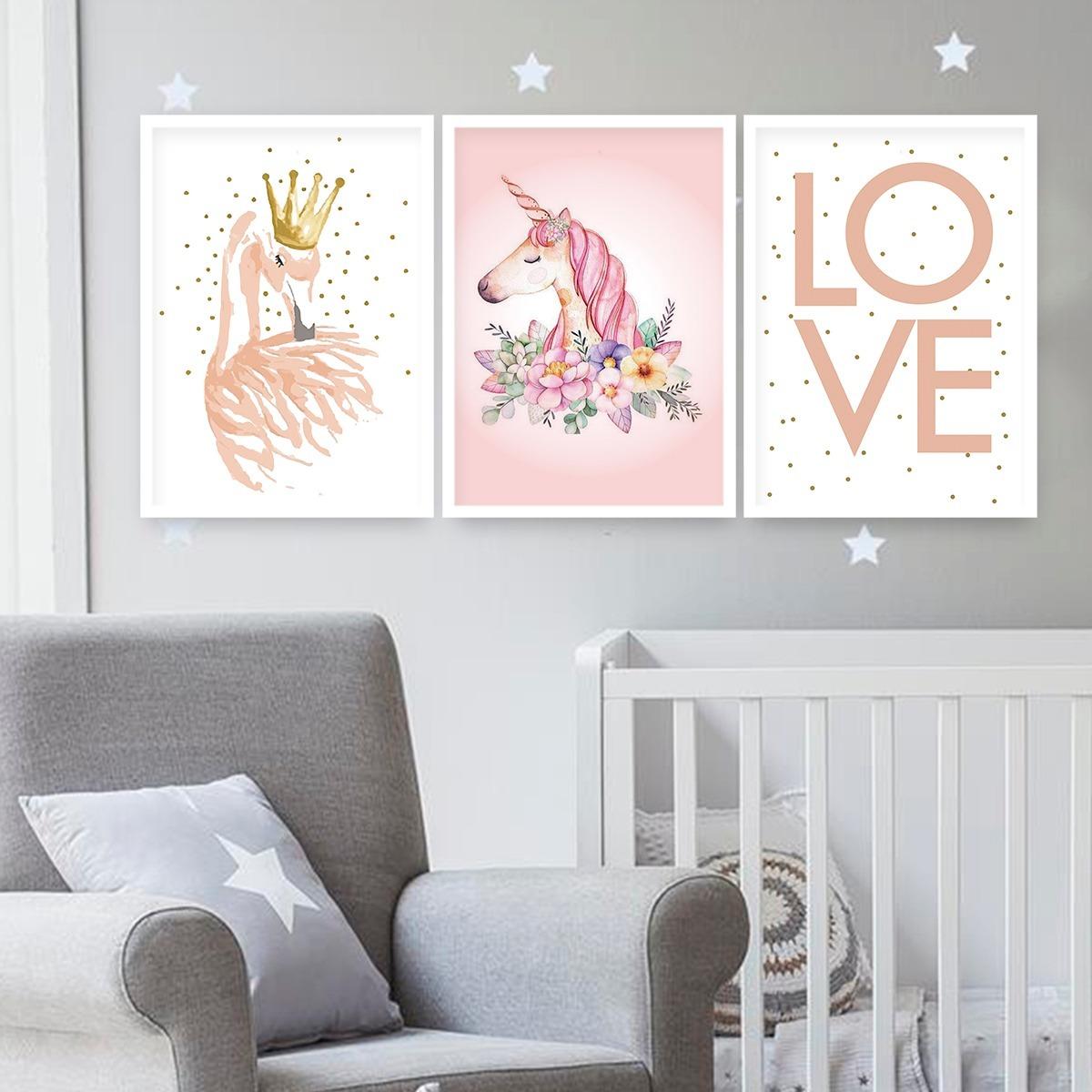 093c8b3c8 kit quadros quarto bebe c moldura e vidro unicórnio rosa. Carregando zoom.