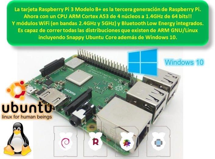 Kit Raspberry Pi 3 B+ Plus Microsd 16gb, Case, Fuente, Cable