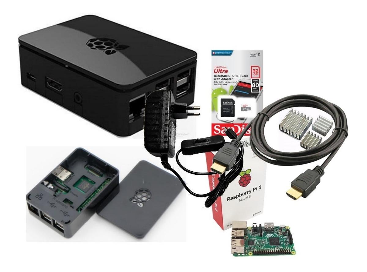 Kit Raspberry Pi3 B, Fonte, Case Oficial Black Piano E 32gb