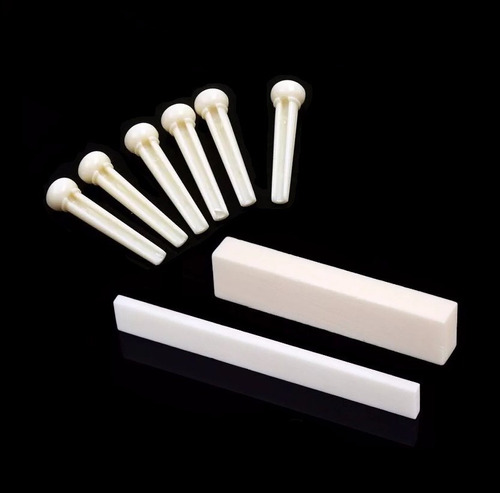 kit rastilho e pestana nut em osso + 6 pinos ponte violão