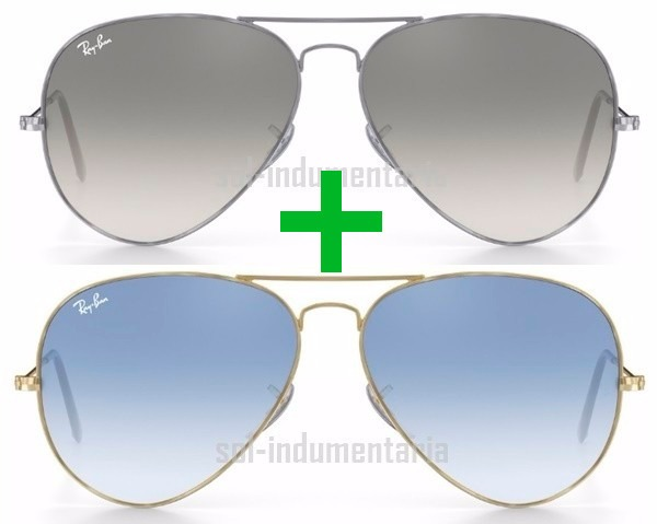 77cd7b3c32b66 Kit Ray-ban Rb3025 Aviador Prata Fume Azul Degrade Original - R  365 ...