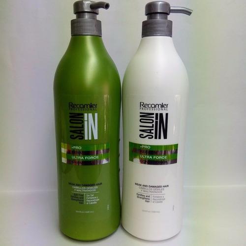 kit recamier keratin ultra force saloon in shampoo + acond