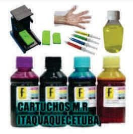 kit recarga hp 4 cores tinta corante  + snap fill 664/122xl