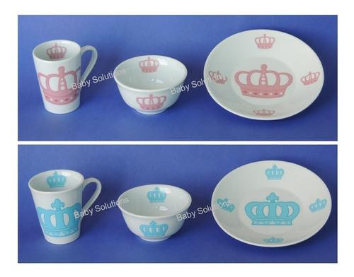 kit refeicao prato caneca tigela porcelana presente 3 peças