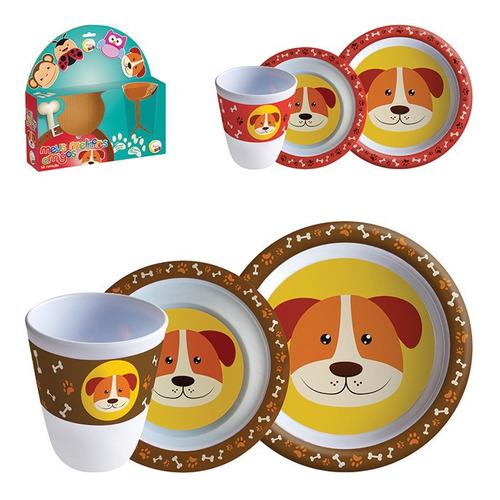 kit refeição cachorro jogo 03 pçs prato pote copo infantil .