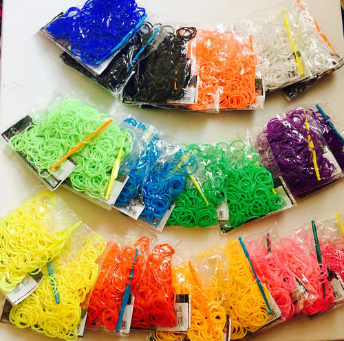 kit refil - 1000 elásticos + agulha + fechos - rainbow loom