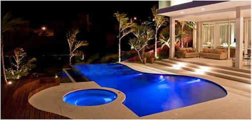 kit refletor piscina 4 led 65 abs rgb + comando até 36 m²