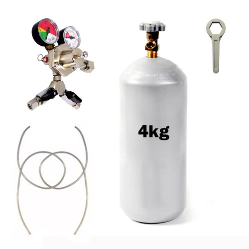 kit regulador e cilindro co2 chopp 2 vias + 2 mangueiras 1/4