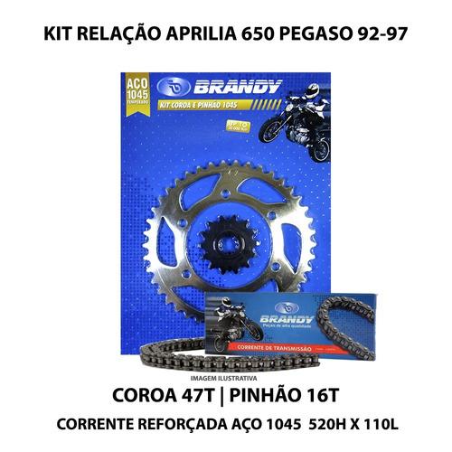 kit relação brandy aprilia 650 pegaso 92-97 aço 1045