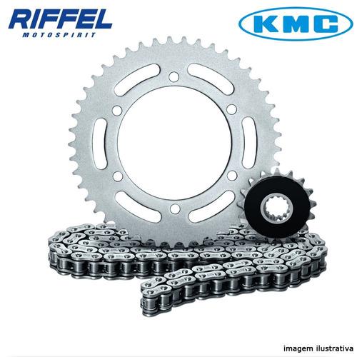 kit relação riffel + corrente kmc gsx750f bandit 600 15x45