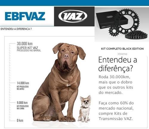 kit relação twister cbx250 (01-08) vaz black com retentor