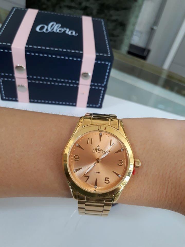 59cabed73d4d9 kit relógio allora dourado + conjunto folheado a ouro. Carregando zoom.