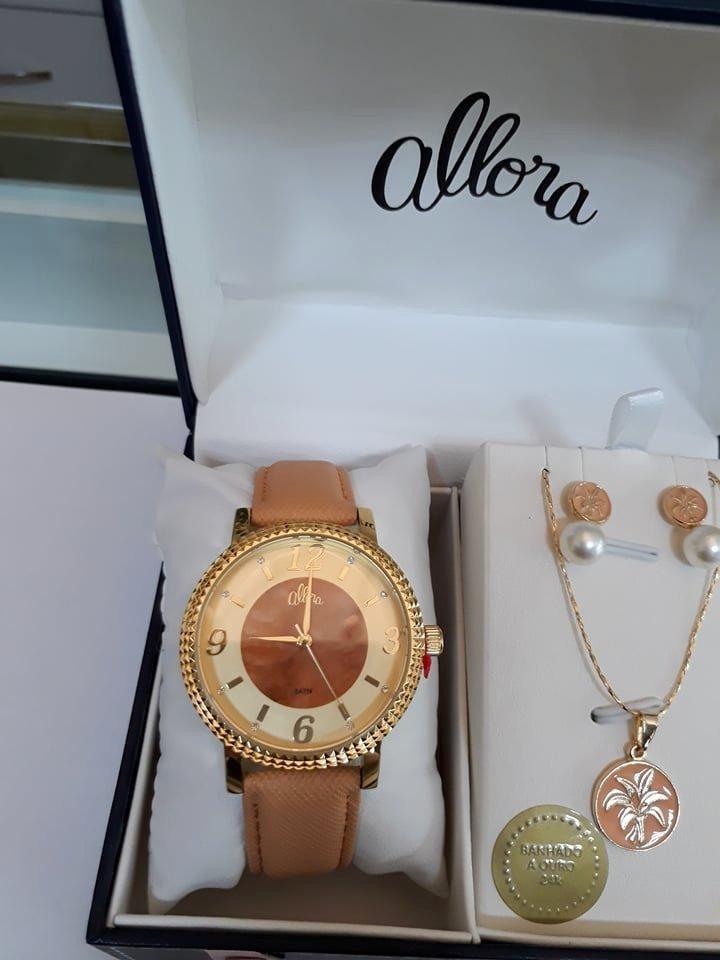 3e0b3db60c853 kit relógio allora dourado couro+ conjunto folheado a ouro. Carregando zoom.