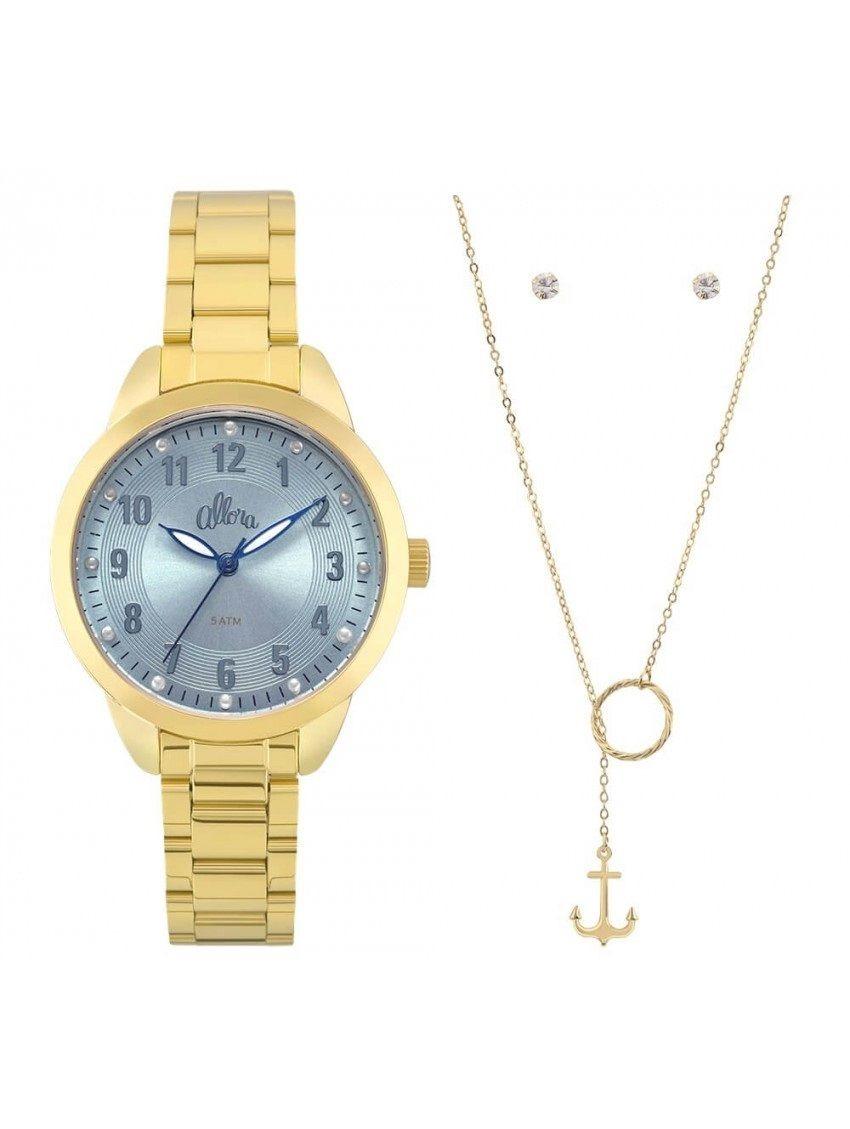 08521df0207a7 kit relógio allora feminino al2035fku k4a dourado semi joias. Carregando  zoom.