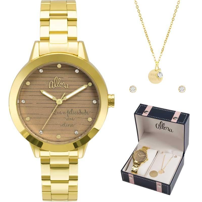 Kit Relógio Allora Feminino Al2036flv k4m - R  189,00 em Mercado Livre f745fccbcc
