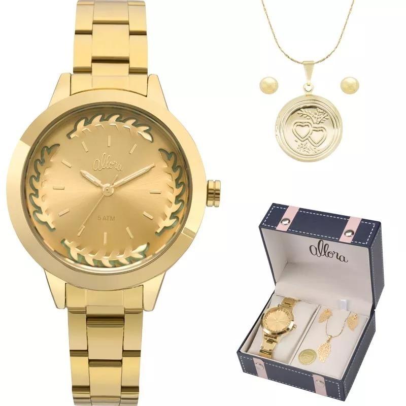 Kit Relógio Allora Feminino Colar E Brincos - R  199,99 em Mercado Livre 1b7953a044