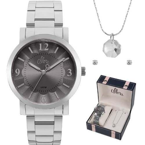 fdee2ed32d12c Kit Relógio Allora Feminino Com Colar E Brinco Al2035fnc k1c - R ...