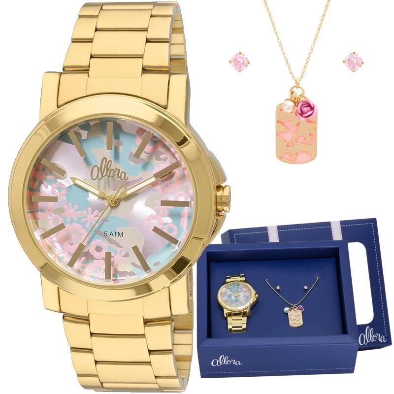 636c6ffad2d33 kit relógio allora feminino com colar e brincos al2036cf k4t. Carregando  zoom.