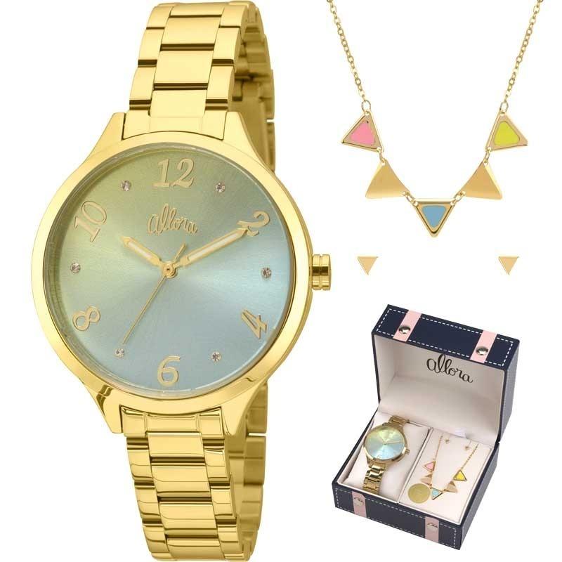 4da28170d4b85 kit relógio allora feminino com colar e brincos al2036cg k4v. Carregando  zoom.